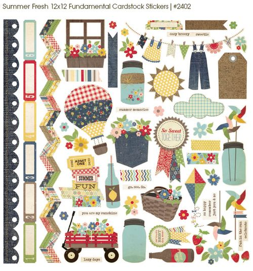 Summer fresh cardstock stickers
