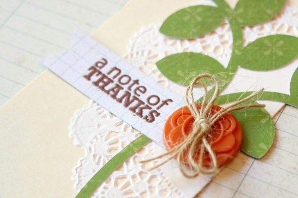 A note of thanks close-up