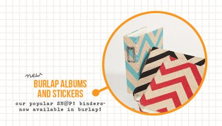 Burlap albums and stickers