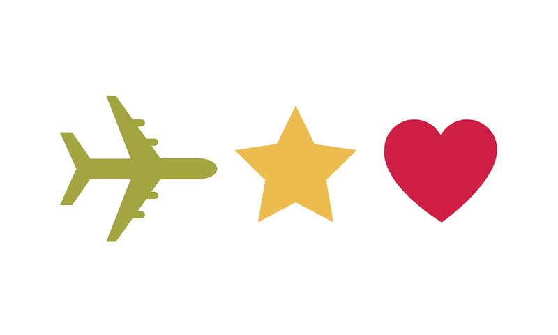 Airplane star heart